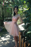 Backless Tulle Short Prom Dress Homecoming Dress KPH0040