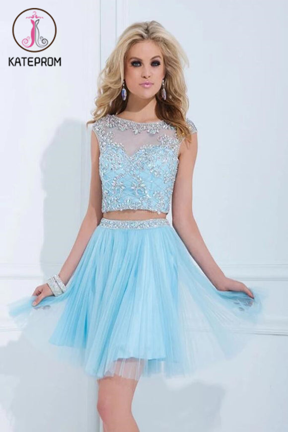 Two Pieces Tulle Short Prom Dress Homecoming Dress KPH0041