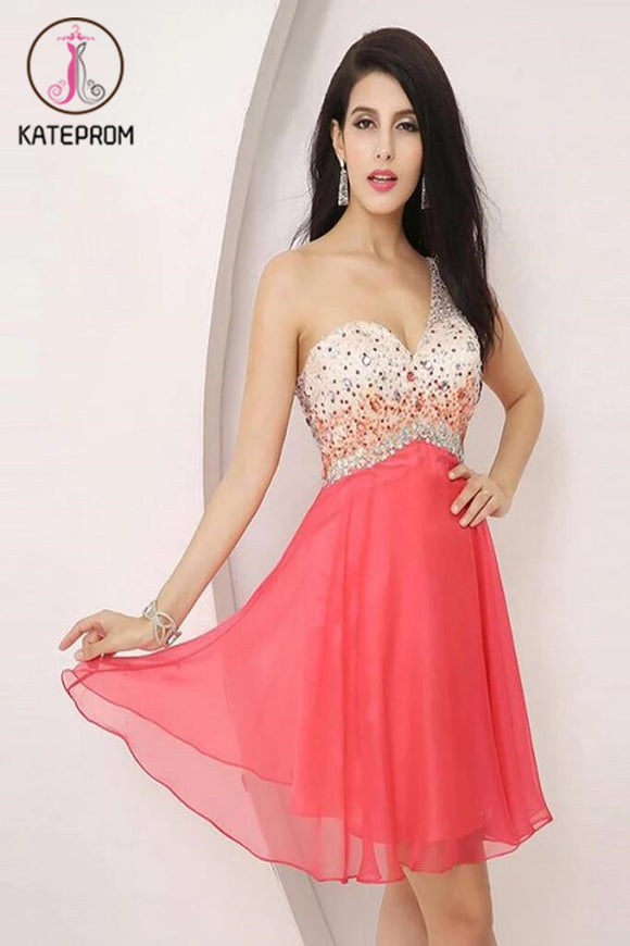 One Shoulder Beading Graduation Homecoming Dress KPH0042