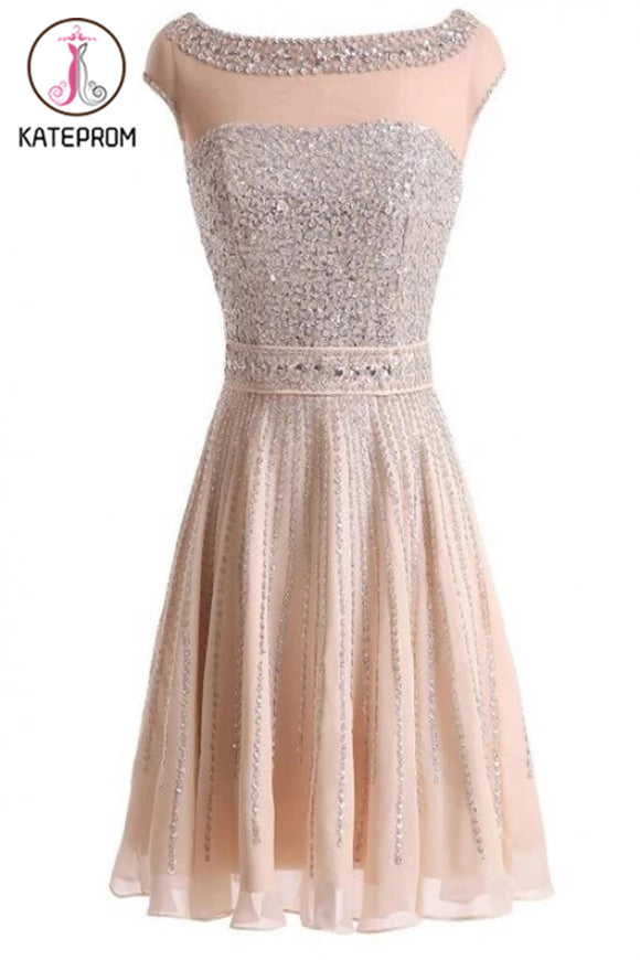 Real Made Beading Short Prom Dress Homecoming Dress KPH0043