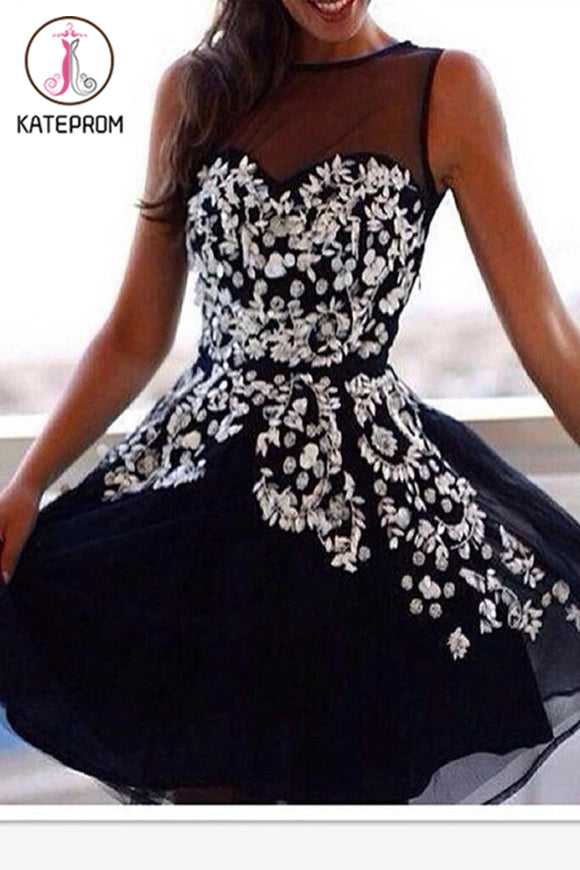 Dark Navy Appliques Graduation/Homecoming Dress KPH0048