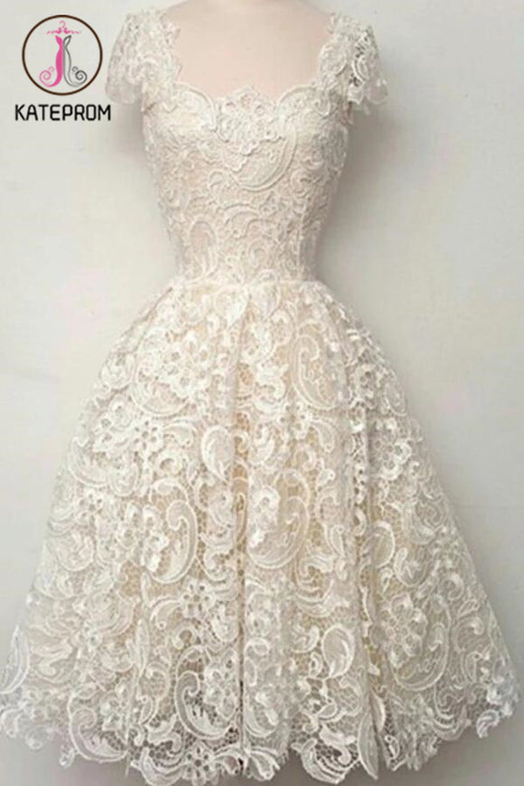 Cap Sleeves Ivory Lace Short Prom Dress Homecoming Dresses KPH0054