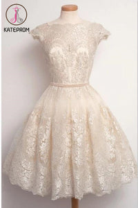 Short Sleeve Lace Prom Dress Homecoming Dress KPH0055