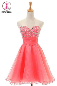 Sleeveless Sweetheart Red Prom Dress Homecoming Dress KPH0056