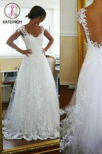 A-Line Lace White Straps Wedding Dresses,See-through Sleeveless Wedding Gowns KPW0041