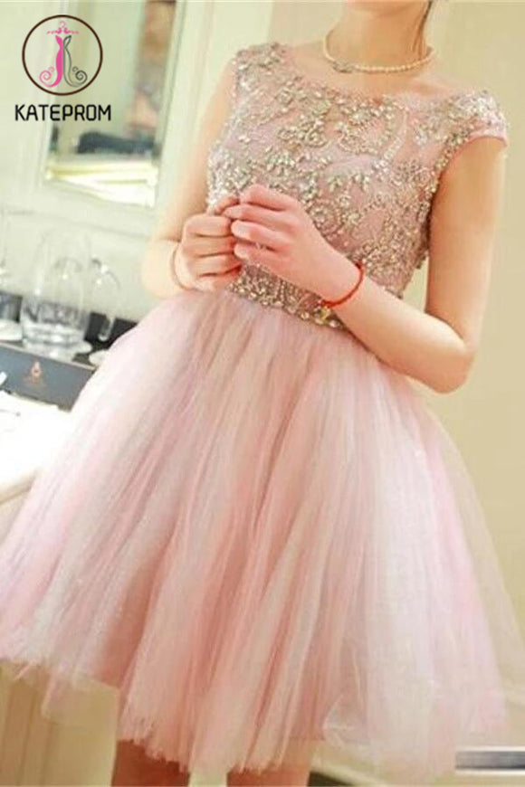 Lovely Strap Beading Tulle Prom Dress Homecoming Dresses KPH0067
