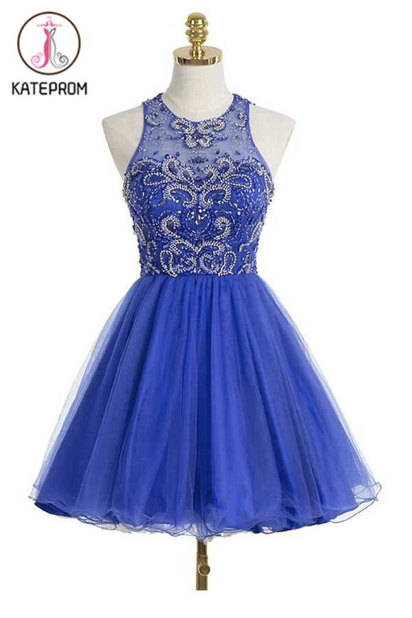 Royal Blue Organza Scoop Short Homecoming Dresses KPH0078