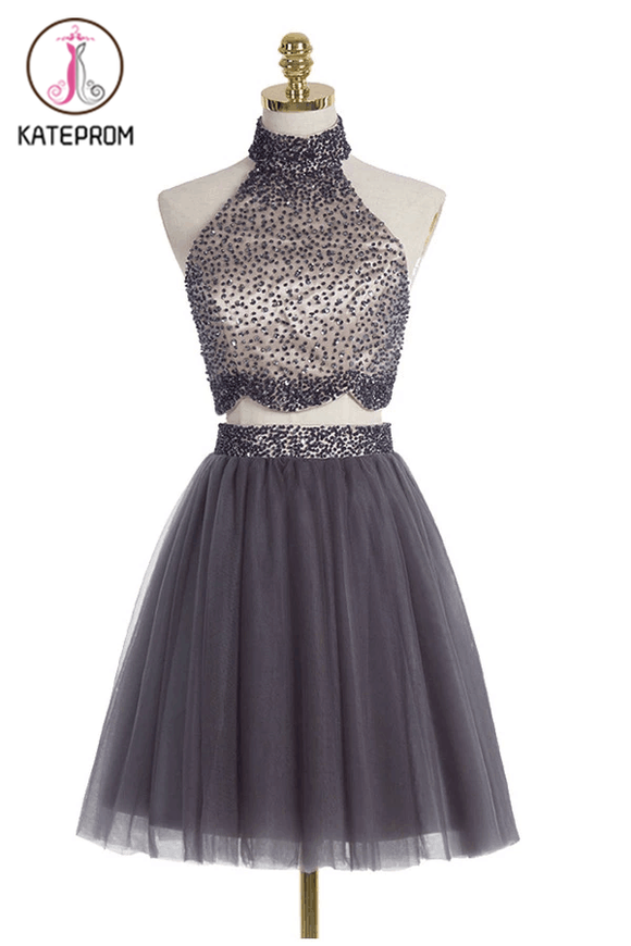 Two piece High Neck Gray Beading Homecoming Dresses KPH0079