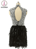 High Neck Knee-length Feather Prom Dresses Homecoming Dress KPH0083