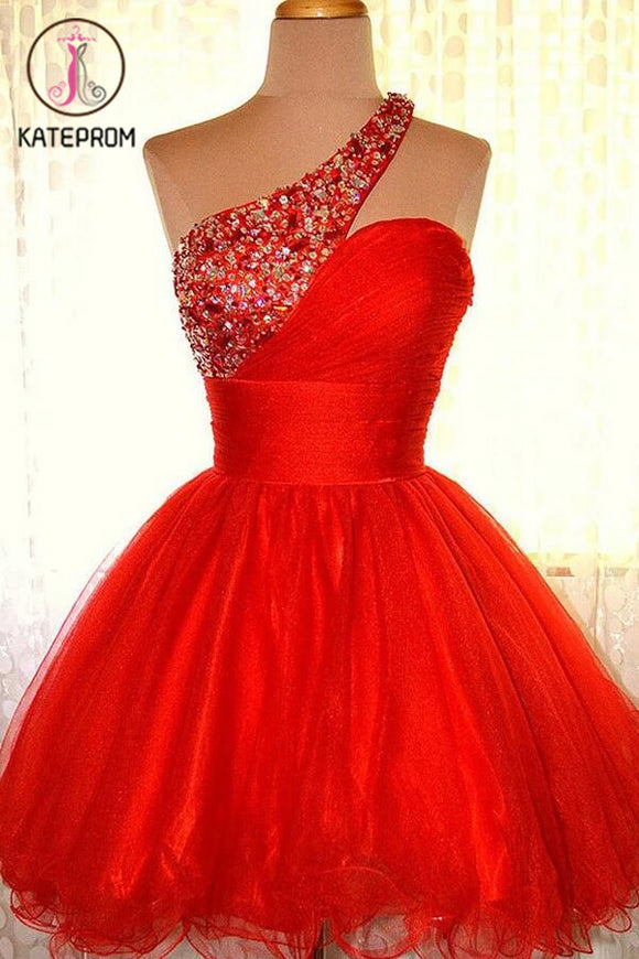 One shoulder Red Organza Prom Dresses Homecoming Dress KPH0084