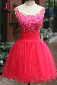Fuchsia Tulle Beading Prom Dresses Homecoming Dress KPH0085