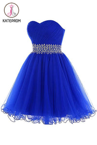 Royal Blue Beaded Tulle Prom Dresses Homecoming Dress KPH0086