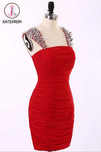 Straps Short Chiffon Red Prom Dresses Homecoming Dress KPH0087