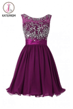 Scoop Chiffon Grape Beading Prom Dress Homecoming Dress KPH0094