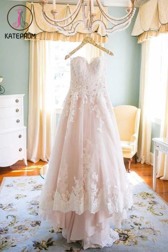 Light Pink Sweetheart Wedding Gown,Tulle Beach Wedding Dress,Lace Appliqued Bridal Dress KPW0045
