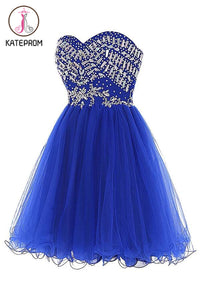 Royal Blue Tulle Sleeveless Prom Dress Homecoming Dress KPH0096