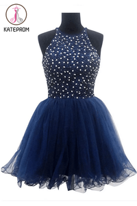 Ball Gown Navy Blue Prom Dresses Homecoming Dresses KPH0100