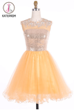 Scoop Gold Organza Open Back Prom Dresses Homecoming Dresses KPH0101