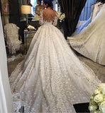 Vintage Appliqued Half Sleeve Wedding Dress, Flowers Ball Gown Luxury Tulle Wedding Dress KPW0046