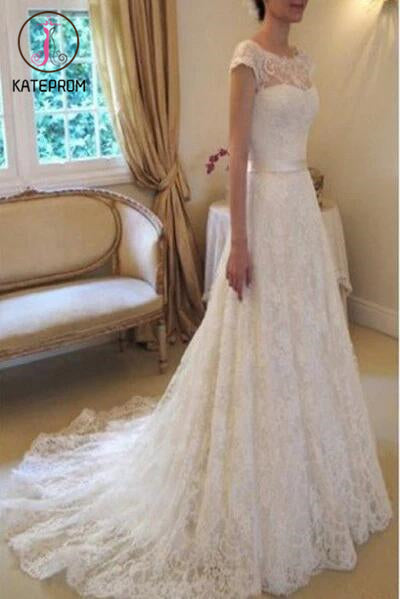 Cap Sleeve Lace Wedding Dresses,Long Bridal Dresses With Court Train,Ivory Beach Wedding Dress KPW0048