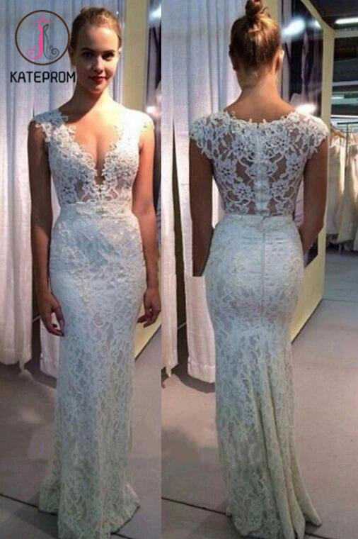 V-neck Wedding Dress,Mermaid Lace Sleeveless Wedding Gown,Ivory Sexy Beach Wedding Dresses KPW0049