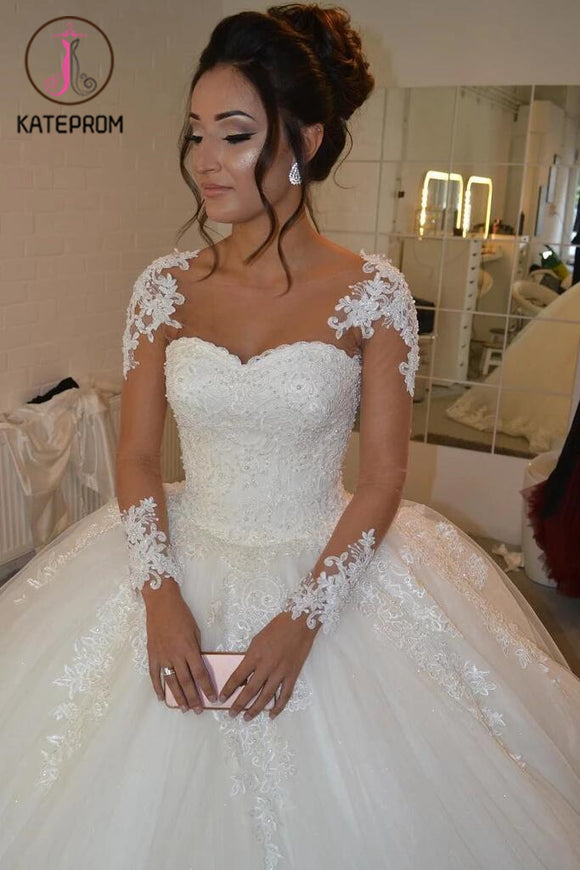 See-through Wedding Dress,Sheer Long Sleeves Ivory Wedding Gown,Lace Appliques Ball Gowns KPW0050