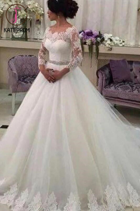 Long Sleeves Ball Gowns,Lace Vestido de Noiva,CustomizedTulle Wedding Dress With Beaded Sash KPW0051