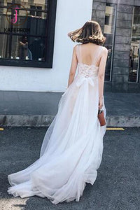 Newest Applique Simple Tulle Wedding Gown,Beach Wedding Dress With Train KPW0052