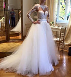 White Tulle Crew Neck Sheer Long Sleeve Lace Accents Bridal Gowns,Beach Wedding Dress KPW0053