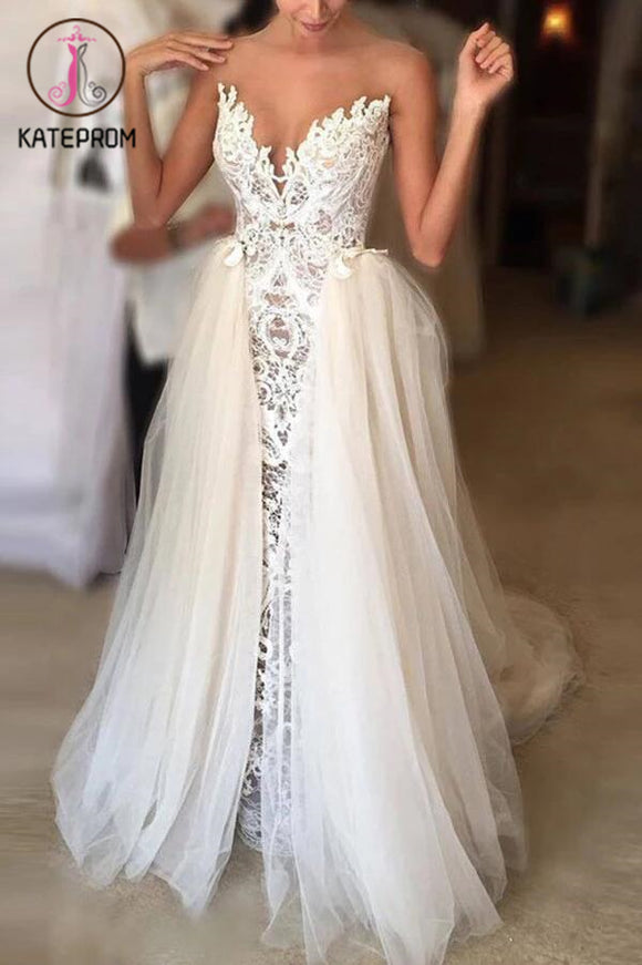 Ivory Wedding Dresses,Sheer Neck Lace Wedding Gowns,Tulle Vintage Special Bridal Dress KPW0054