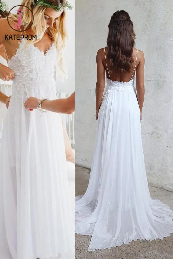 Spaghetti Strap V-neck White Chiffon Lace Appliqued Summer Beach Wedding Dresses,Bridal Dress KPW0055