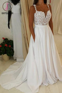 Ivory Spaghetti Strap Lace Top Wedding Dresses,A-line Sweetheart Beach Wedding Dress KPW0056