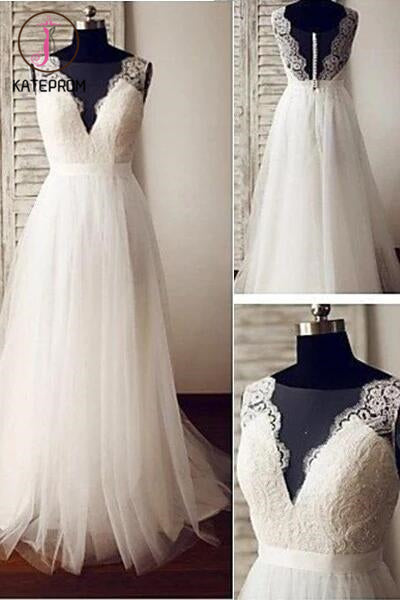 V-neck Beach Wedding Dress,Ivory Tulle Lace Appliqued Wedding Gown,A-line Bridal Dresses KPW0057