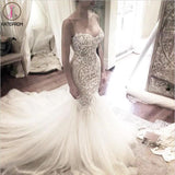 Ivory Mermaid Backless Spaghetti Straps Court Train Lace Tulle Wedding Dress KPW0059