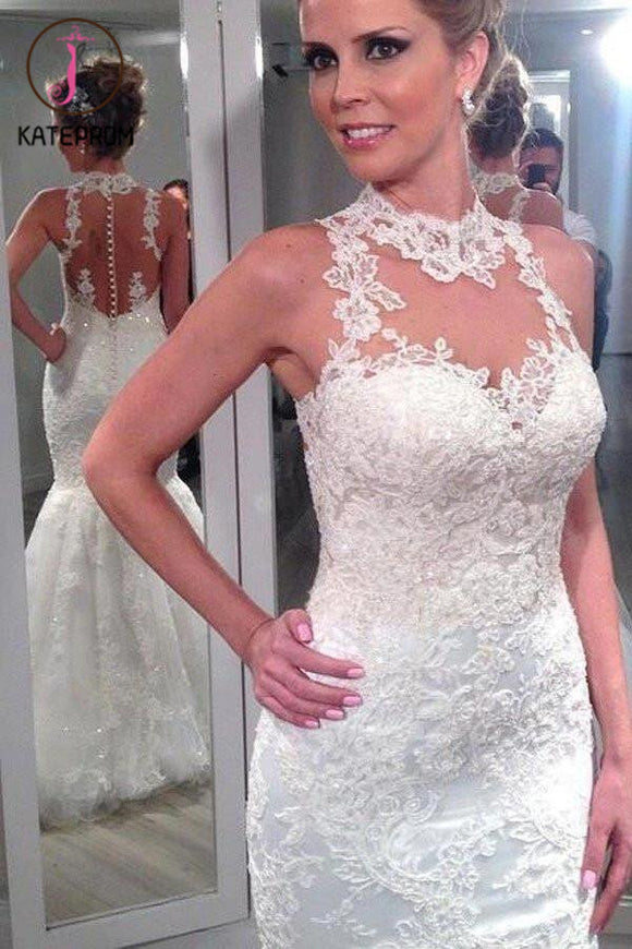 Lace High Neck Mermaid Wedding Dress,Backless Custom Beach Wedding Dress,Bridal Dresses KPW0060