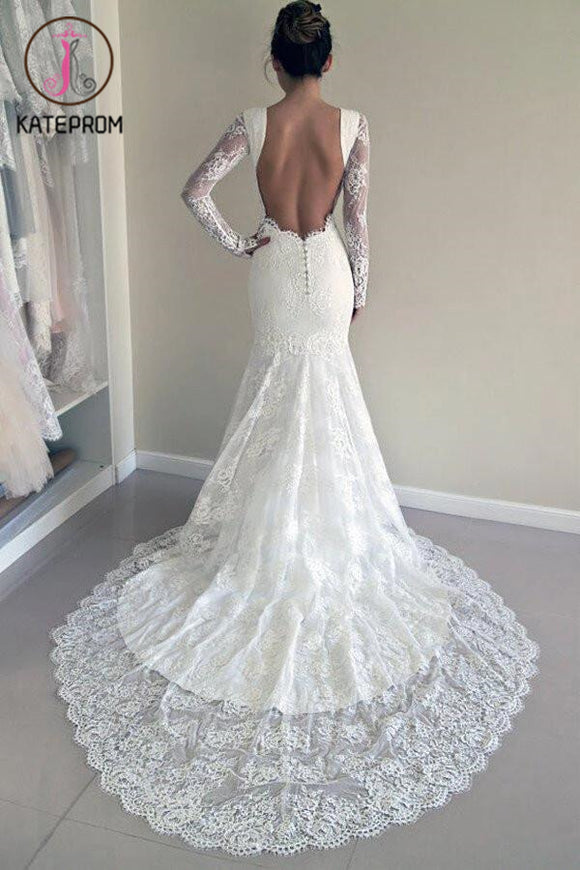 Long Sleeves Open Back Lace Wedding Dress with Train,Mermaid Beach Wedding Dresses KPW0061