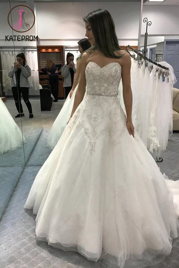 Strapless Sweetheart Ball Gown Wedding Dresses,Beaded Shinny Bridal Dress,Big Bridal Dress KPW0063