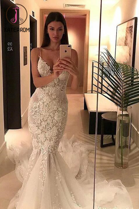Spaghetti Straps Mermaid Wedding Dresses,Appliqued V-neck Tulle Wedding Dress,Bridal Gown KPW0065