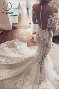 See-through Mermaid Wedding Dresses,Lace Appliques Long Sleeves Sheer Tulle Bridal Dresses KPW0066