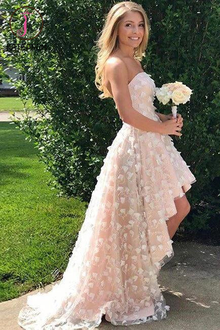 High-low Strapless homecoming dress,Cute Beach Wedding Dress,High-low Prom Dresses KPW0067