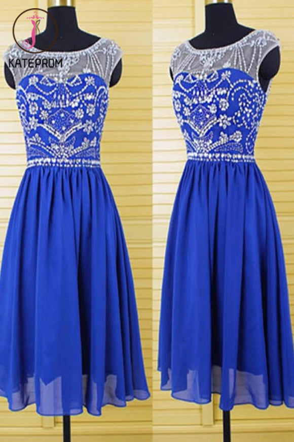 Cap Sleeves Royal Blue Chiffon Homecoming Dresses Prom KPH0029