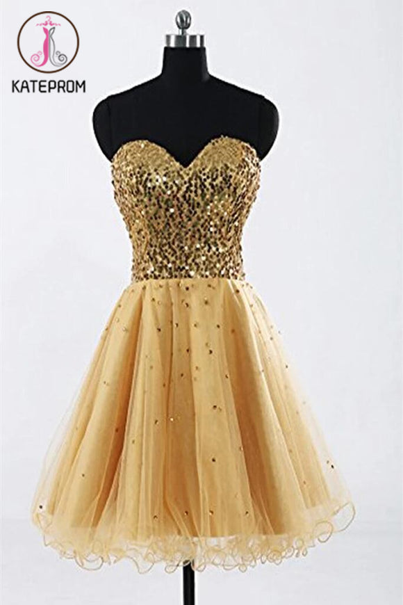 Gold Sweetheart Beaded Backless Back Up Lace Homecoming Dresses KPH0031