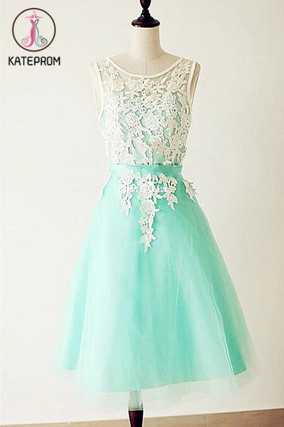 Emerald Lace Cap Sleeves Backless Homecoming Cocktail Dresses KPH0032