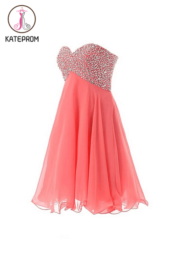 Empire Waist Watermelon Sweetheart Short Prom Homecoming Dress KPH0033