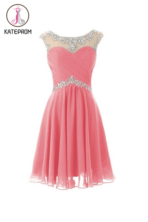 Cap Sleeves Beaded Pink Short Prom\Homecoming Dresses KPH0034