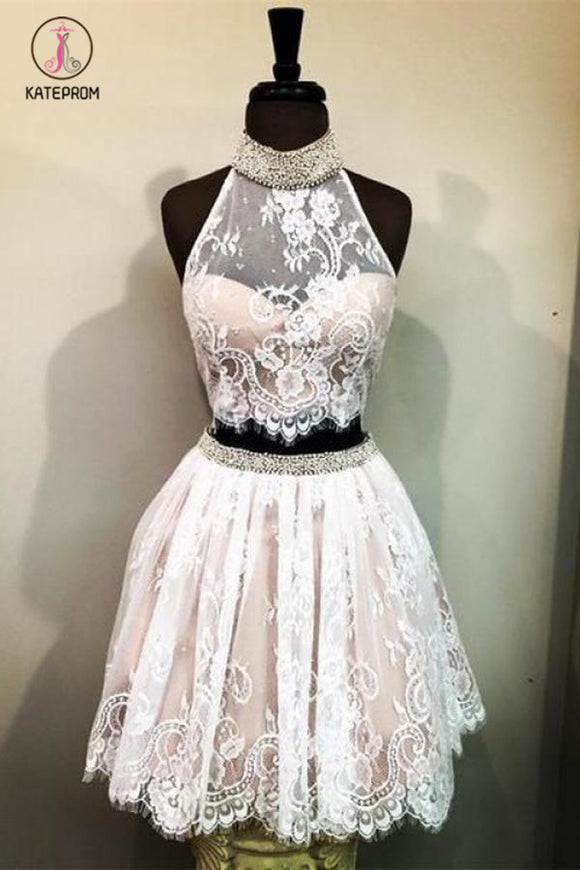 Kateprom Lace High Neck Sleeveless Homecoming Dress with Beads, Two Piece Lace Short Prom Dress KPH0329