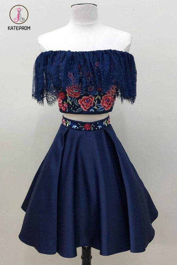 Kateprom Two Piece Dark Blue Off the Shoulder Satin Homecoming Dress, Unique Party Dress with Lace KPH0341
