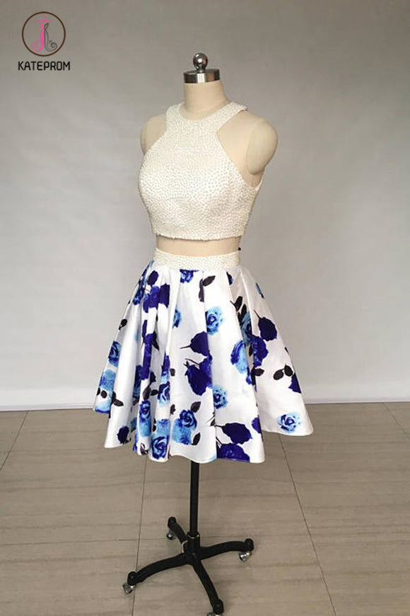 Kateprom Two Piece Ivory Jewel Floral Print Satin Short Homecoming Dress with Pearls KPH0343