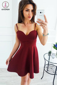 Kateprom Burgundy Sweetheart Mini Satin Homecoming Dress, Spaghetti Straps Sexy Mini Cocktail Dress KPH0385