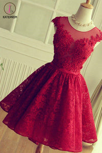 Kateprom Burgundy A Line Lace Homecoming Dress, Cheap Sleeveless Lace Graduation Dresses KPH0411